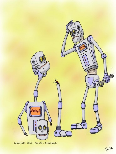 "A kids poem illustration for ""Eleven from Eight Equals One Robot."""